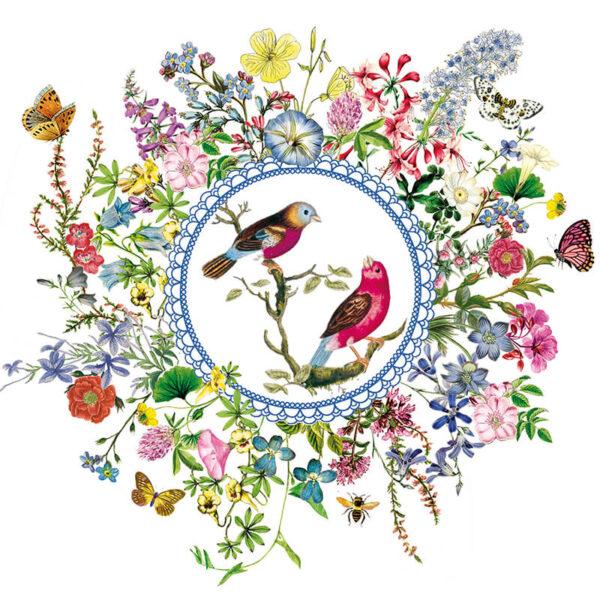 zarte Blüten Vogelmedaillon